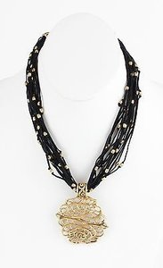 Chico's Chicos 16 4 Ext. Black Sueded Strands Goldtone Beads Pendant Necklace Bj03