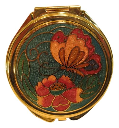 Other Mirror Compact; Golden Enameled Butterfly - [ Roxanne Anjou Closet ]