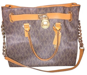 Michael Kors Gold Tote in Brown/Gold Hardware