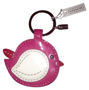 Coach Coach Retail $78 BRAND NEW WITH TAGS Pink/White Patent Leather Bird Keychain/Fob/Purse Charm-Silver Coach Hangtag-So Cute!RARE-Retail $78