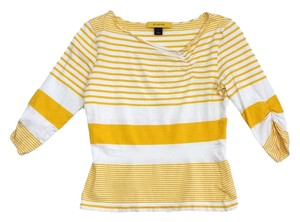 St. John Yellow White Striped Shirt Sweatshirt