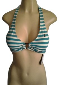 Juicy Couture Striped Sparkle Glitter TEAL WHITE GOLD Halter Top