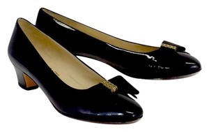 Salvatore Ferragamo Black Patent Leather Ribbon Bow Pumps