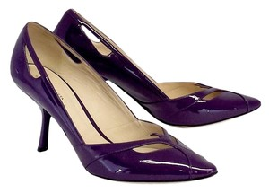 Bottega Veneta Purple Patent Leather Cut Out Pumps