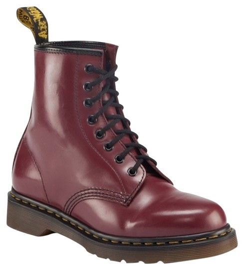 Dr. Martens Broken In Milled Leather Cherry Red Boots