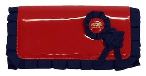 Moschino Red & Blue Patent Leather Clutch