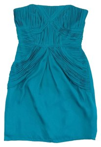 Shoshanna short dress Teal Silk Strapless on Tradesy