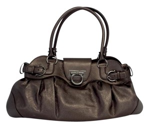 Salvatore Ferragamo Metallic Brown Leather Hobo Bag