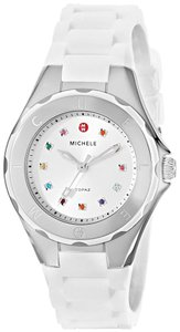 Michele NWT Michele Tahitian Petie Jelly Bean Topaz Dial White strap watch $300+Tax