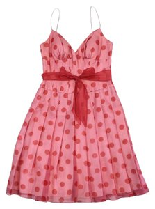 Kay Unger Pink Polka Dot Spaghetti Strap Dress