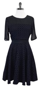 Reiss short dress Midnight Blue & Black Eyelet Lace on Tradesy