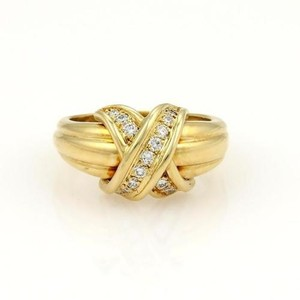 Tiffany & Co. Tiffany Co.18k Yellow Gold Diamonds Signature X Design Ring