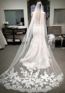 Long Appliqued Veil In White