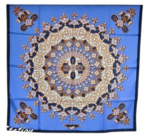 Hermès Authentic Hermes Blue Filigree Pattern Silk Scarf 35