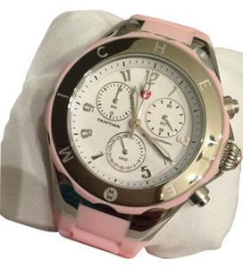 Michele NWT Michele Tahitian Jelly Bean Large Case Silver and Pink watch $345