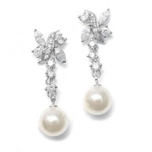 Mariell Silver/Ivory Pearl and Cz Earrings