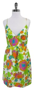 MILLY short dress Multi Color Floral Silk Spaghetti Strap on Tradesy