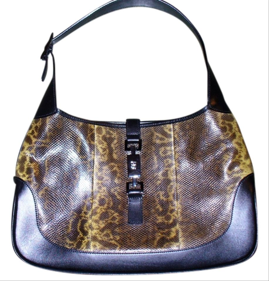 Gucci jackie snake black calfskin lizard skin leather hobo bag jpg 917x960  Black hobo lizard 0dc5ca0b84