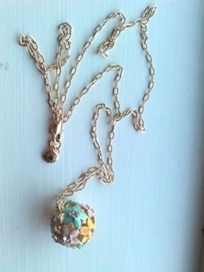 J.Crew Cloisonne Flower Gold Chain Necklace