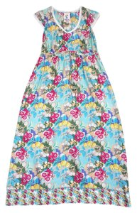 Maxi Dress by Johnny Was Multi Color Floral Silk