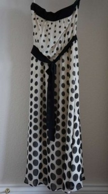 The Limited Strapless Shift Polka Dot Cream Silk Chiffon Silk Chiffon Retro Chic Dress