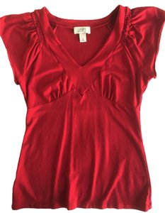 Ann Taylor LOFT Ruched Top Red