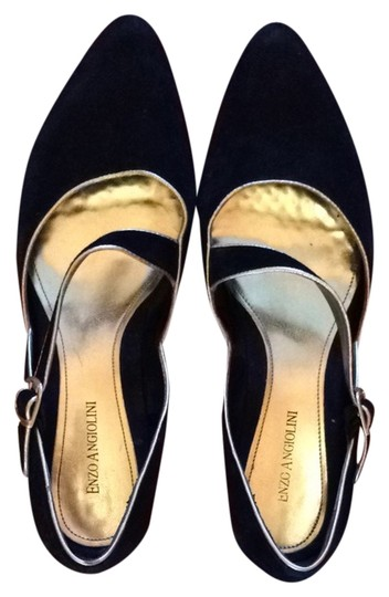 Enzo Angiolini Black with Gold Trim Flats
