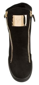 Giuseppe Zanotti Shearling And Suede Black Suede/Gold Hardware Athletic
