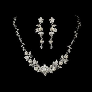 Elegance by Carbonneau Silver Crystal and Pearl Floral Jewelry Set