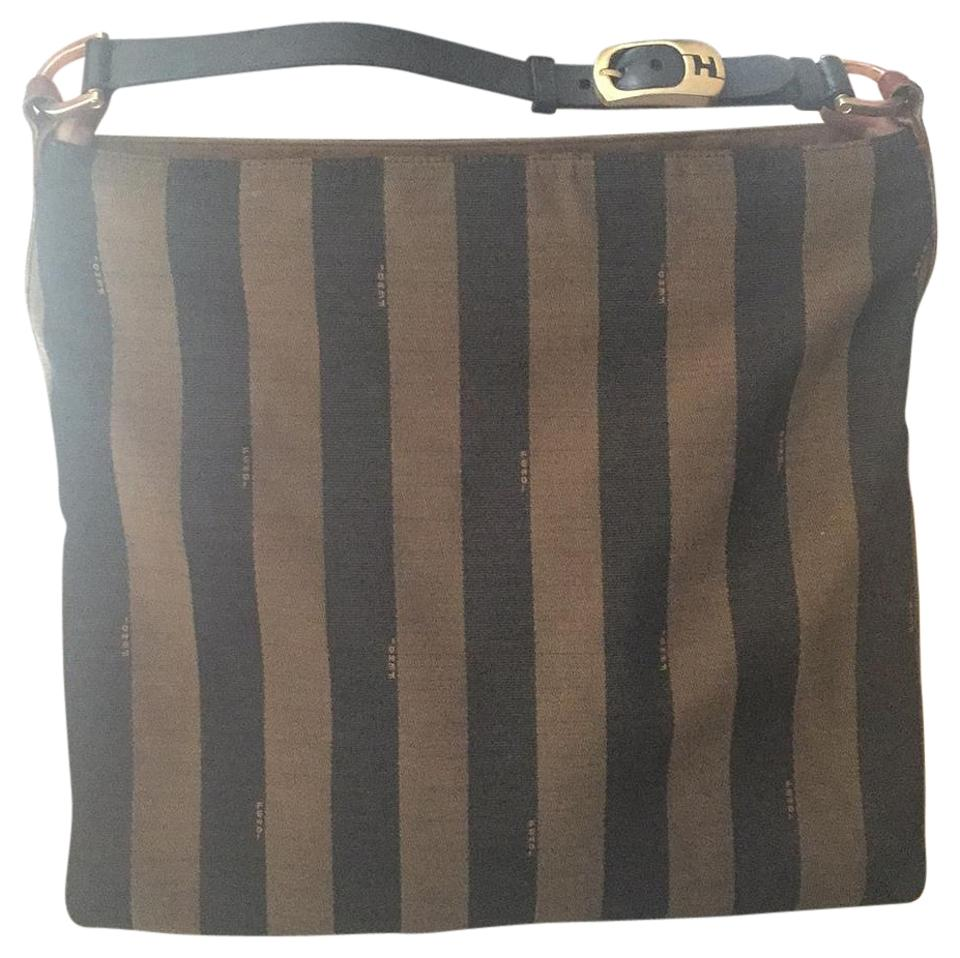 7469dcb593 Fendi Pequin Striped Tabacco and Black Canvas  Leather Hobo Bag ...