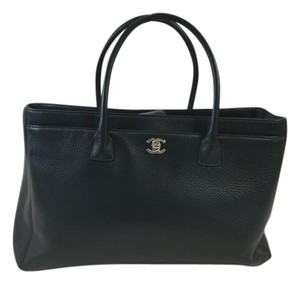 Chanel Executive Navy Leather Tote in Dark Teal