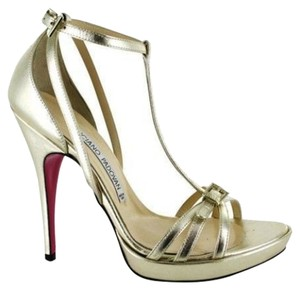 Luciano Padovan Leather Ankle Strap Hidden Platform Stiletto Metallic Metallic Gold Sandals