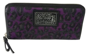 Coach POPPY OCELOT LEOPARD ZIP AROUND WALLET PURPLE