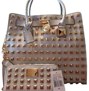 Michael Kors Satchel in White and Gold