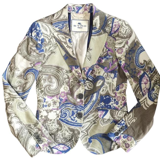 Item - Blue Paisley Fitted Blazer Size 6 (S)