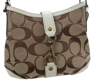 Coach Monogram Leather Canvas Shoulder Bag