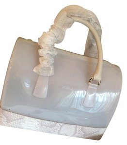 Furla Candy Candy Satchel in White With Leather Snake Print
