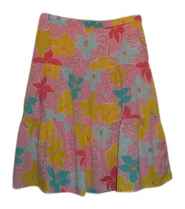 Lilly Pulitzer Tropical Print Floral Skirt PINK FLORAL