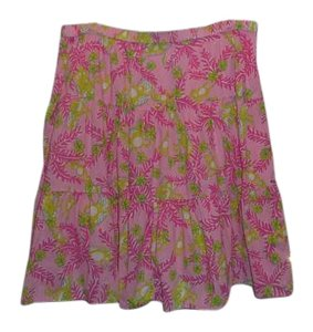 Lilly Pulitzer Tropical Print Full Ruffle Skirt PINK