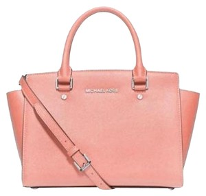 Michael Kors Saffiano Leather Satchel in pale pink/ silver tone