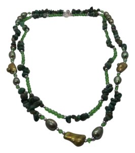 Other Green Jasper with Keshi & Freshwater Pearls 2 strand 22in Necklace w Free Shipping