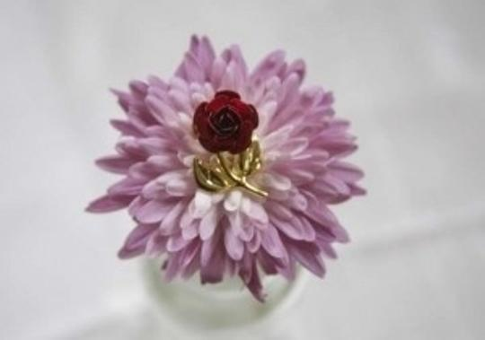 vintage Red Rose Gold Tone Brooch Pin