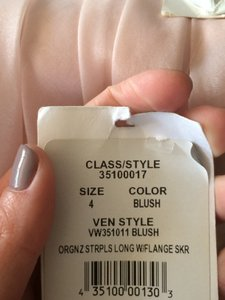 Vera Wang Blush Organza Fit and Flare Gown with Bias Flange Style Vw351011 Modern Wedding Dress Size 4 (S)