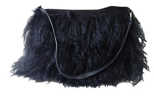 BCBGMAXAZRIA Black FURRY Clutch