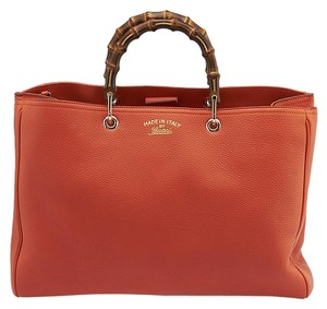 Gucci Bamboo Shopper Leather Large Tote in Orange
