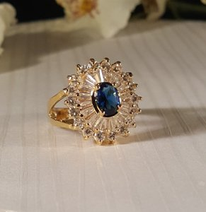 Other Sapphire Blue CZ Gold Plated Ring Size 8.5