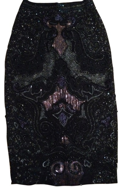 Item - Blue Black Lilac and Green Beading Skirt Size 2 (XS, 26)
