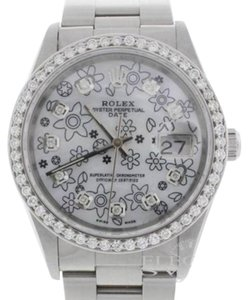 Rolex Rolex Date 15210 34MM Diamond Bezel/Diamond MOP Flower Dial