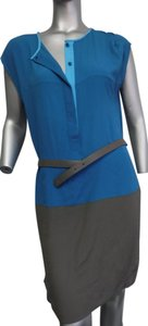 Akris short dress blue and grey Belted Cap Sleeve Shift on Tradesy