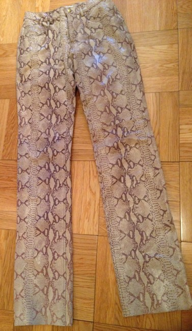 Hugo Buscati Leather Leather Snake Pattern Pants